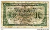"10 Francs 2 Belgas  ""BELGIQUE""  01 02 1943          Bc 7 - [ 2] 1831-... : Koninkrijk België"