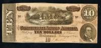 """**RARE** 10 Dollars   """" Devise Confédération  RICHMOND""""  NEUF/UNC 17 Février 1864   Bc1. - Confederate Currency (1861-1864)"""