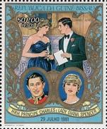 Lady Diana Hochzeit 1981 Bissau 594 Out Block 187 ** 9€ DI & Prinz Charles Honeymoon Bloc Ss Flower Sheet Bf Guinea - Puppen