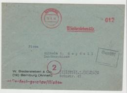 SBZ055/ Bernburg, Aptierter Freistempel, Zensiert 15.9.45 - Zone Soviétique