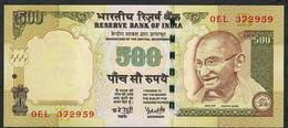 INDIA INDE P99c4 500  RUPEES 2007 #0EL Signature 19  LETTER R  UNC. NO P.h. ! - India