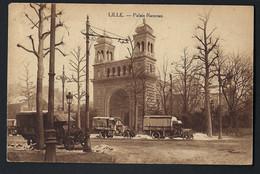 Nord Pas De Calais 59. LILLE -   Palais Rameau . PLUSIEURS CAMIONS -  1918 Ou 1919  - Scan Recto/verso. - Lille
