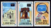 LIBERIA : 24-05-1986 (**) : Ameripex '86   Mich : 1349-1351  Yvert : 1032-1034 - Esposizioni Filateliche