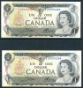 Canada 1973  2 Consecutively Numbered One Dollar Banknotes In Uncirculated Condition - Canada