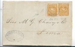 Ecu087 / Ecuador, Brief Mit  1 Real (Paar)  1870, Guayaquil Nach Peru , Mit Inhalt Und Ankunftsstempel Lima (geprüft) - Ecuador