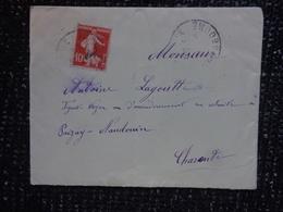 Enveloppe  Entiere- -cachet  Perle Au Verso  -paizay-angouleme  - Timbre La Semeuse 10c - 1877-1920: Période Semi Moderne
