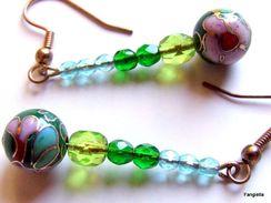 Boucles D´oreilles Perles Cloisonnées Traditionnelles Et Perles Dégradées En Cristal De Bohème Facetté - Earrings