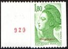 France Roulette N° 2378,a ** Liberté De Gandon 1,80 Fr. Vert - Numéro Rouge Au Verso - Rollen