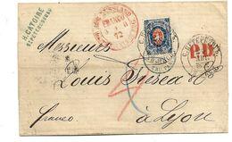 Rl079/ Mi.Nr. 22y, 20 K. 1872 St. Petersburg Nach Lyon (Yvert 22 B) - Briefe U. Dokumente