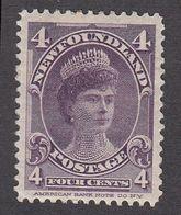 Newfoundland 1897 4c Violet, SG 89 MH - Newfoundland