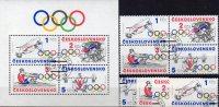 Los Angeles Sommer-Olympiade USA 1984 CSR 2782/5,VB+Block 60 O 10€ Rudern Radsport M/s Olympic Sheet Bf Tschechoslowakei - Estate 1984: Los Angeles