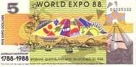 AUSTRALIE   5 Dollars EXPO UNIVERSELLE 1988   ***** BILLET  NEUF ***** - Lokale Munt