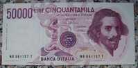 BANCONOTA DA 50.000 LIRE ITALIA BERNINI 1° TIPO SERIE (B) IN FDS - - [ 2] 1946-… : Repubblica