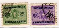 0425 – 2 Valori Segnatasse, Stemma Con Fasci 25 E 50 Centesimi Usati – 1934 - 1900-44 Vittorio Emanuele III