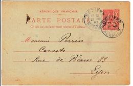 Louise Olivier A La Ruche Entier Postal 1901 Cachet Béziers Hérault Type Mouchon 10c - Cartes Postales Types Et TSC (avant 1995)