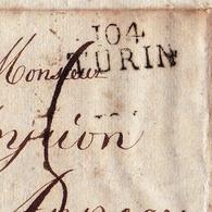 Lettre Torino Département Conquis 104 Turin Annecy Italie Pô 1810 - Marcophilie (Lettres)