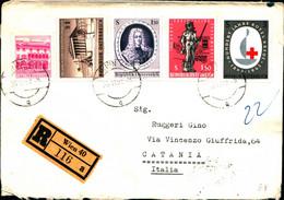 29711)lettera Racc. Con 1.20s+1s+1.50s+1.50s+3s + Annullo Da Wien A Catania - 1961-70 Covers