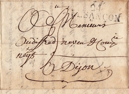Lettre Avec Correspeondance Lettre Besançon Doubs Pour Dijon Côte D'Or 1816 - Marcofilie (Brieven)