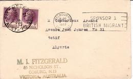 Lettre Australia Australie Melbourne Pour Algérie Sétif 1957 Douane Customs - 1952-.... Règne D'Elizabeth II