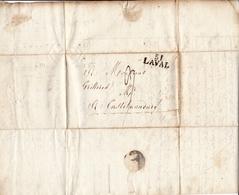 Lettre Laval 1815 Turpin Mayenne Pour Castelnaudary Aude - Marcofilie (Brieven)