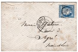 Cérès 25c Bordeaux Hassaing Gironde Pour Segré Maine Et Loire 1873 Nombreux Cachets - 1871-1875 Cérès