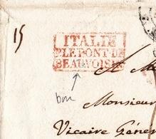 Lettre Italie Cachet De Passage Rouge Pont De Beauvoisin Pour Soissons Aisne 1839 - Italië