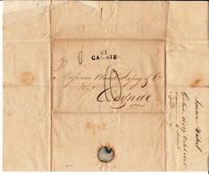 Lettre Avec Correspeondance Isaac Vital Calais Pas De Calais Pour Cognac Charentes Otard Dupuy 1825 Alcool - Marcofilie (Brieven)