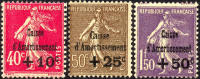 France B35-37 Mint Hinged Surcharged Set From 1930 - France