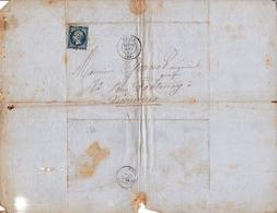 Lettre Avec Correspondance Napoléon III 20c Paris Pour Vincennes 1867 Avoine Marchand De Grains - 1853-1860 Napoleon III