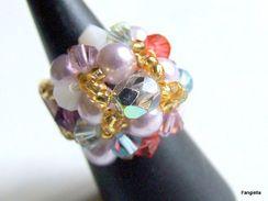 Bague Multicolore Perles En Cristal Swarovski Et Cristal De Bohème Taille 53 (US: 6) - Anelli