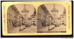 SUISSE BERNE DEBUT DE 1900  LA GRANDE HORLOGE. STEREOPHOTO ORIGINALE. TRES RARE - Photos Stéréoscopiques