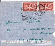 Indochine Saigon Par Avion  1950 Paire  Aspara Pour Laiz Sigmaringen Allemagne