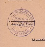 Lettre Algérie Constantine Contributions Directes Impots 1962 - Algerije (1924-1962)
