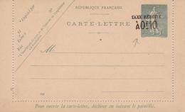Carte Lettre Entier Postal Semeuse Lignée 15c + Taxe Réduite à 0F10 - Postwaardestukken