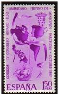 España 1967 Edifil 1818 Sello ** IV Congreso Hispano Luso Americano Filipino De Municipios 1,50Pts Spain Stamps Espagne - 1931-Hoy: 2ª República - ... Juan Carlos I