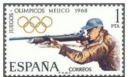España 1968 Edifil 1885 Sello ** XIX Juegos Olimpicos De Mexico Tiro 1Pta Spain Stamps Espagne Timbre Briefmarke Spanien - 1931-Hoy: 2ª República - ... Juan Carlos I