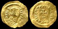 [Do] BIZANTINE - Maurizio Tiberio (582-602)  TREMISSE (Oro / Gold /Or) - Byzantines