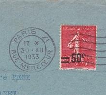 Semeuse 80c Surcharge 50c 1933 Paris Bureau Rue Mercoeur Pour Samadet Landes - 1903-60 Semeuse Lignée