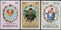 Barbados Barbade 1981 Yvertn° 521-23 *** MNH Cote 4,20 Euro Prince Charles Et Diana - Barbades (1966-...)