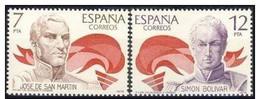 España 1978 Edifil 2489/90 Sellos * America España Jose De San Martin (1778-1850) Y Simon Bolivar (1783-1830) Spain - 1931-Hoy: 2ª República - ... Juan Carlos I