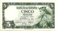 SPAIN  5 PESETAS  GREEN MAN FRONT BUILDING  BACK  DATED 22-7-1954 EF P146 READ DESCRIPTION!! - 5 Pesetas