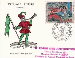 Carte 1968 Foire Antiquités Village Suisse Cité Des Antiquaires Timbre Paul Gauguin - Frankrijk