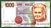 Billet Italie 1000 Lires Montessori 1990 Ttb+ - [ 2] 1946-… : République
