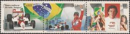 BRAZIL - TRIPTYCH OF AYRTON SENNA, F-1 DRIVER 1994 - MNH - Cars