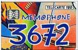 ||||   TELECARTE 120  ||||   F294 - Memophone 3672 - 120 - 10/92 - GE - Operatori Telecom