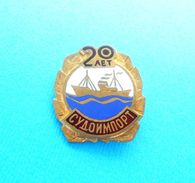 SUDOIMPORT Moscow - Russia Shipping Company Vintage Enamel Pin Badge Compagnie Maritime Compagnia Di Navigazione Ship - Boats