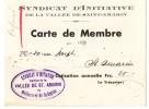 Syndicat D Initiative De La Vallée De Saint Amarin - Carte De Membre - Other Collections