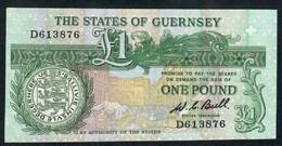 GUERNSEY P48a 1  POUND 1980 #D   Signature BULL    XF - Guernsey