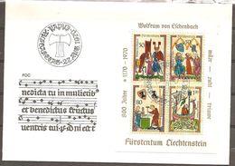 Liechtenstein. Scott # 471a-d, FDC S/sheet. Wolfram Von Eschenbach Poet 1970 - Christianisme