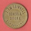 """MONNAIE DE NECESSITE  """"FIRM GRINDEL  GENERAL STORE """"  ELWOOD.IND.  /  GOOD FOR 25c IN TRADE - Monétaires/De Nécessité"""